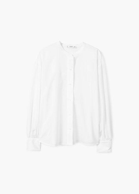 Camicia collo alla coreana bianca - Mango