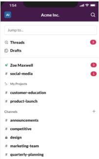 A screenshot of the Slack app