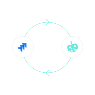 An icon of a chatbot stands alongside the logo of Jira, and a circular line is going across each