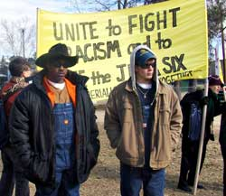 Anti-racist activists from many parts<br>of the country march in Jena, La.,<br>Jan. 21.