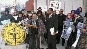 Activists & supporters at press conference Jan. 24 on victory for Stephanie Nickerson. WW photo: Dante Strobino