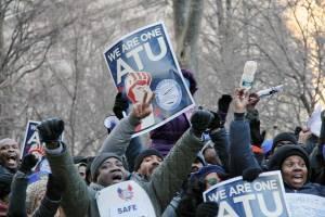 Following snow storm, 5,000 march across Brooklyn Bridge to rally in Manhattan, Feb. 10.WW photo: Brenda Ryan