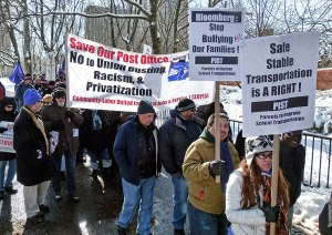 To support striking NYC school bus drivers, CLUPJS members participated in Feb. 10 march over the Brooklyn Bridge.WW photo: Joseph Piette
