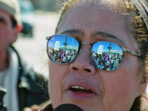 Rosaura Torres, herself a victim of police brutality and an organizer of the rally.WW photo: Joseph Piette