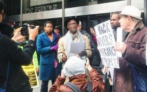 PIST activist Johnnie Stevens speaks at news conference.Photo: Raven Rakia, 1181: A Documentary
