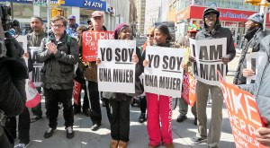 Demanding economic justice outside Wendy's in downtown Brooklyn, April 4.WW photo: Anne Pruden