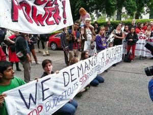 Student street blockade led by N.C. Student Power Union.Photo: NC Student Power Union