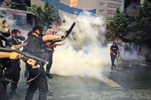 Police used tear gas and water cannons to clear Gezi Park of protesters the night of June 15.Photo: Jenna Pope