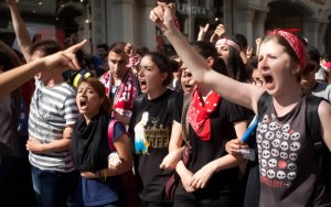 Youth in Taksim Square protest.