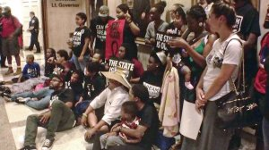 Sit-in at Florida governor's office, Tallahassee, July 16.