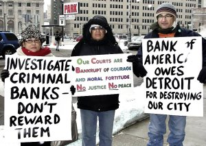 Detroit protesters outside of court Dec. 17.WW photo: Bryan G. Pfeifer