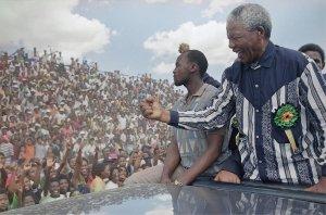 Nelson Mandela at Galeshewe Stadium near Kimberly, South Africa, 1994.