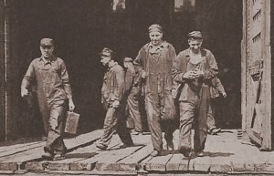 Railroad workers walking off the job in the July 1922 strike. Photo from Labor Herald [Chicago] Aug. 1922.