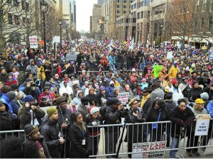 View from platform during historic Raleigh march.