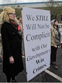 April 27 protest at Hancock Air Base.WW photo: Minnie Bruce Pratt