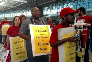 Hudson News workers on strike, May 22.WW photo: Sharon Black