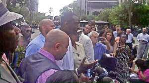 Three of Central Park 5 hold press conference after court ruling.WW photo: Dolores Cox