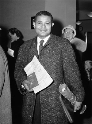 William Worthy at the U.S. Passport Agency in 1957. His renewal was denied after he visited China.