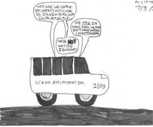 11-year old's cartoon finds school buses equatorial.Cartoon: K. Stevens