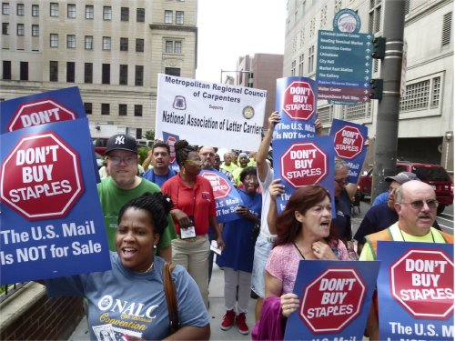 Letter carriers protest at Staples, July 23.