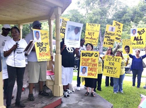 Rodney Reed's mother, Sandra Reed, opens rally on July 24.WW photo: Gloria Rubac