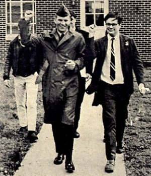 From left, Terry Klug and Andy Stapp leaving Klug's court-martial at Fort Dix, 1969.