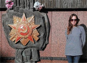 Mayya stands next to Soviet Union memorial, Simferopol.WW photo: Greg Butterfield