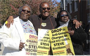 From left to right: Georgia Scott, Monica Moorehead and Lela Roseboro. Team Solidarity leaders Scott and Roseboro and WW managing editor Moorehead spoke at the Oct. 6 Dorchester rally.WW photo: Brenda Ryan