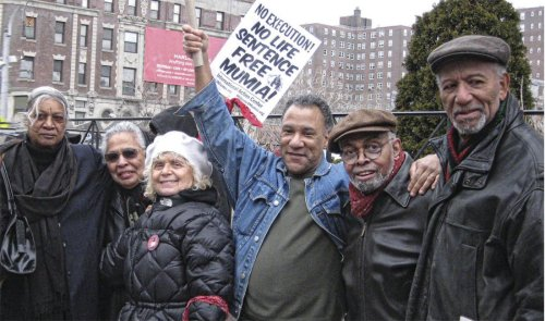 Herman Ferguson (right) protests for Mumia Abu-Jamal's freedom Harlem, N.Y., 2008.WW photo: Anne Pruden