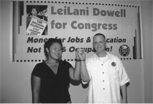 LeiLani Dowell and Leslie Feinberg in 2004. Photo: Bill Hackwell