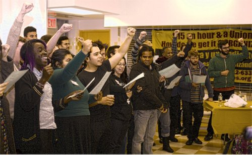 FIST youth lead the conference in singing the Internationale.WW photo: G. Dunkel