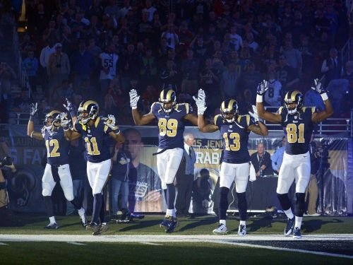 St. Louis Rams wide receivers in solidarity with Ferguson, Nov. 30.