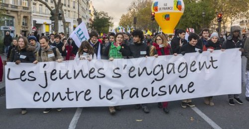 The banner of'Youth against racism' in a protest in Paris, November 2013.