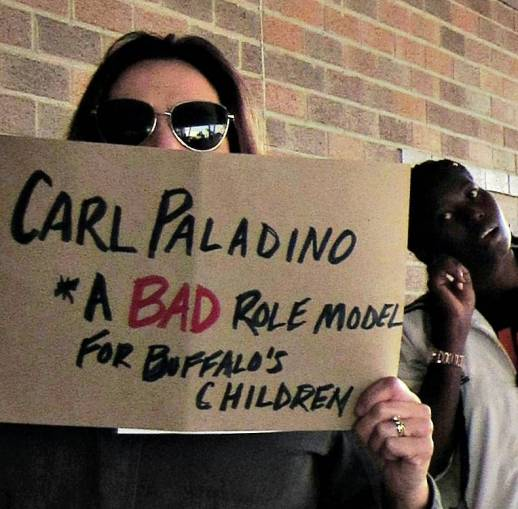 """Rally shouts """"HELL NO, Carl Paladino! Sexism and Racism is NOT 'normal' at the Buffalo School Board, Oct. 12."""