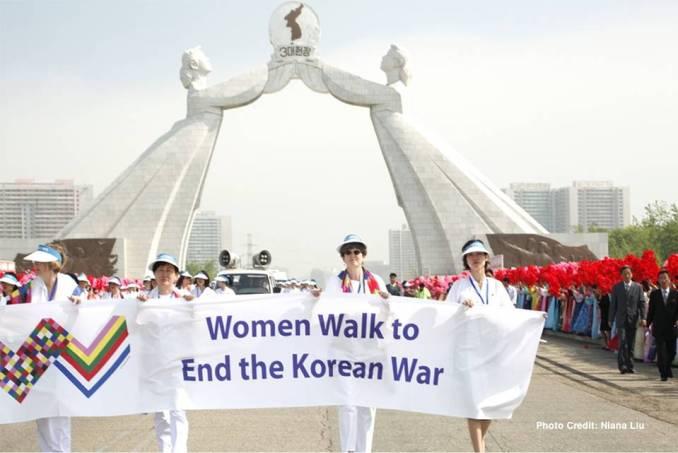 Women cross the DMZ in 2015.