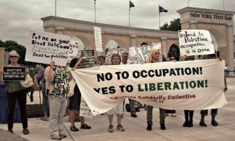 Protesters demand 'Free Palestine,' confront New York Gov. Cuomo at State Fair in Syracuse, Aug. 25.