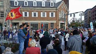 """Standing Rock solidarity at the """"Liberty Pole"""" in Rochester, N.Y."""
