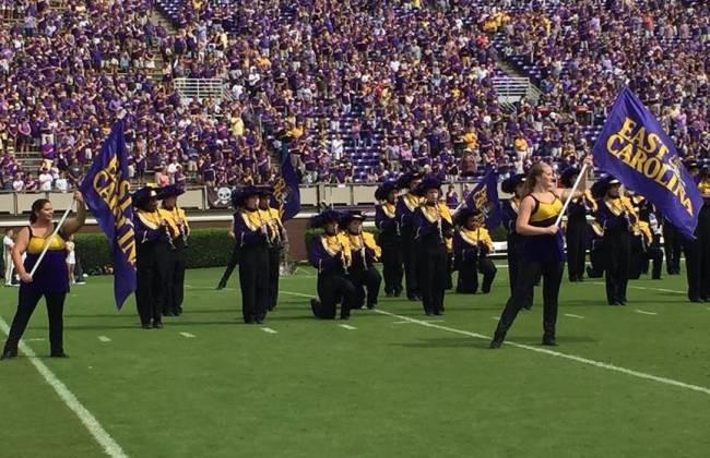 East Carolina State band members kneel during national anthem. Greenville, N.C., Oct. 1.