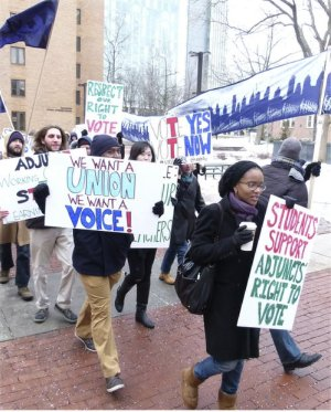 Temple adjuncts and supporters march, Feb. 23.WW photo: Joseph Piette