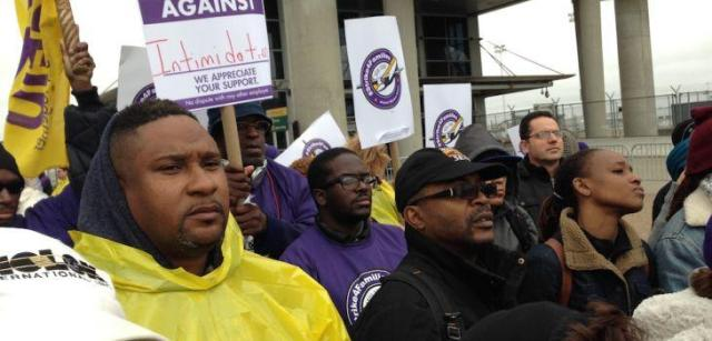 Airport workers at seven of the busiest U.S. hubs went on strike.