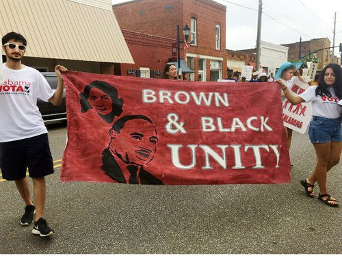 Black and Brown unity at Voting Rights March, Shelby County, Ala.WW photo: Minnie Bruce Pratt