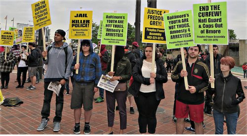 International Workers Day in Baltimore. Protesters defend rebellious youths.WW photo: Monica Moorehead