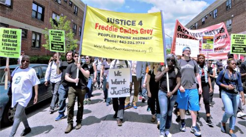 In Baltimore on May 2 protesters demanded 'a livable wage' as well as 'Justice for Freddie Grey.'WW photo: Monica Moorehead