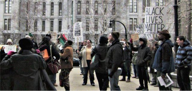 Protesters storm Erie County Building.WW photo: Ellie Dorritie