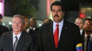 Raúl Castro and Nicolás Maduro at the Summit of the Americas.
