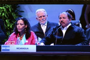 From left, Nicaraguan First Lady Rosario Murillo, Rubén Berríos, president of the Puerto Rican Independence Party, and Nicaraguan President Daniel Ortega.