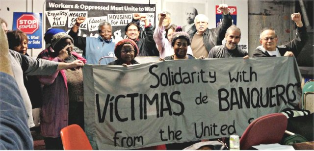 Some participants at Detroit meeting with Jose Parra, Oct. 19.WW photo: Martha Grevatt