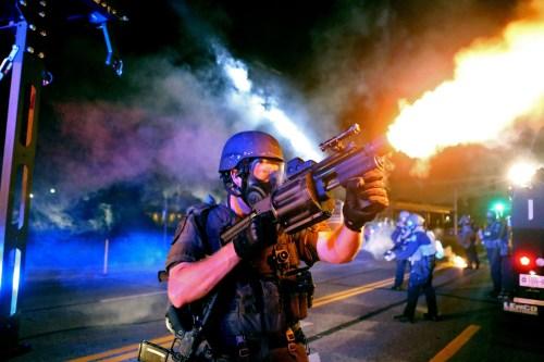 Ferguson cops fire tear gas