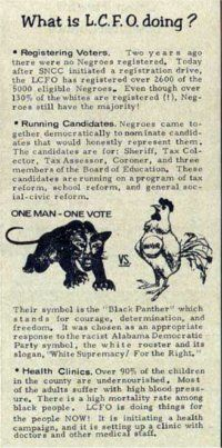 Lowndes County Freedom Organization voting rights leaflet. Alabama, 1966.