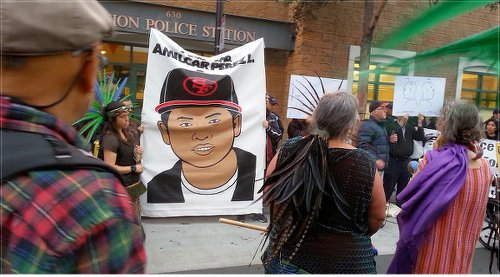 Banner with portrait of Amilcar Lopez, April 24.WW photo: Terri Kay
